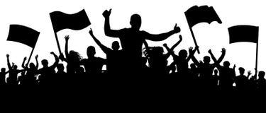 Povos da multidão do elogio da silhueta Aplauso cheering da audiência, aplaudindo ilustração do vetor