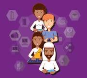 Povos da raça diferente com meios tecnologicos do social dos dispositivos ilustração royalty free