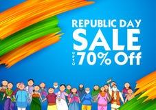 Povos da religião diferente que mostram a unidade na diversidade no dia feliz da república do fundo da promoção de venda da Índia ilustração do vetor