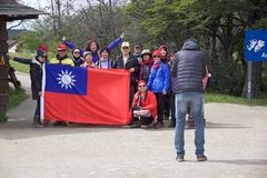 Povos da República da China na baía de Lapataia ao longo da fuga litoral em Tierra del Fuego National Park, Argentina imagens de stock royalty free