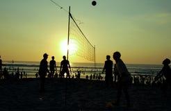 Povos da silhueta que jogam o voleibol foto de stock royalty free