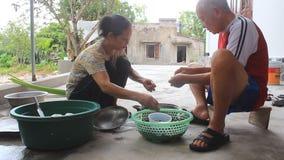 Povos de Ásia que processam caracóis para o alimento filme