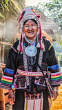 Povos de Akha do tribo do monte em Tailândia do norte, Chiangrai Imagem de Stock Royalty Free