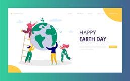 Povos de aterrissagem da página do ambiente do planeta do verde das economias do homem do Dia da Terra da estação de tratamento d ilustração do vetor