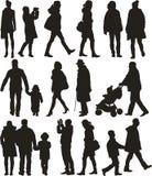 Povos de passeio - silhouttes Imagem de Stock Royalty Free