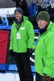 Povos de pessoal de Killington, Tom Horrocks - chefe da imprensa L durante o slalom gigante de Audi FIS o Ski World Cup Women alp imagens de stock royalty free