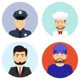 Povos de profissões diferentes Um polícia, um cozinheiro, um homem de negócios, um atleta Foto de Stock Royalty Free