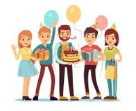 Povos de riso e de sorriso com presentes e bolo Conceito do vetor do feliz aniversario ilustração royalty free