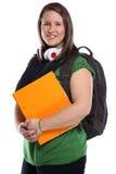 Povos de sorriso do retrato fêmea do estudante isolados Foto de Stock