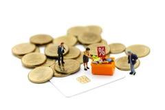 Povos diminutos: Clientes com disconto para artigos de compra e Imagem de Stock Royalty Free