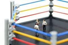 Povos diminutos: homem de negócios com as luvas de encaixotamento que estão na BO Fotografia de Stock Royalty Free