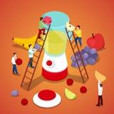 Povos diminutos que fazem o suco fresco Comer saudável ilustração do vetor