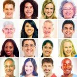 16 povos diversos na máscara do Sepia Imagens de Stock