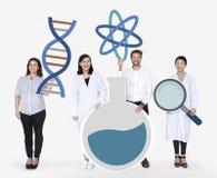 Povos diversos que guardam ícones genéticos dos testes imagens de stock
