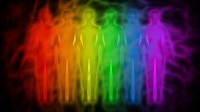 Povos do arco-íris - silhuetas do arco-íris da aura humana