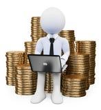 povos do branco 3d Faça o dinheiro no conceito do Internet Fotografia de Stock Royalty Free