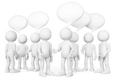 povos do branco 3d Fala do grupo de pessoas Conceito do bate-papo Imagens de Stock Royalty Free