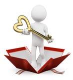 povos do branco 3d Homem que dá a chave de seu coração Foto de Stock Royalty Free