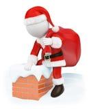 povos do branco 3d Santa Claus que vem para baixo uma chaminé Imagens de Stock