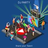 Povos do desempenho do DJ isométricos Fotografia de Stock Royalty Free