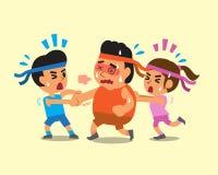 Povos do esporte dos desenhos animados que ajudam o homem gordo a correr Fotografia de Stock Royalty Free