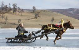 Povos do Mongolian que montam um pequeno trenó em um lago congelado Khuvsgul Imagens de Stock