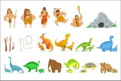 Povos do tribo da Idade da Pedra e objetos relacionados ilustração stock