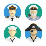 Povos dos Avatars profissão marinheiro, pirata, capitão Projeto liso do vetor Fotografia de Stock