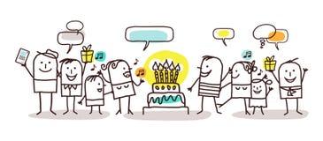 Povos dos desenhos animados e feliz aniversario ilustração royalty free