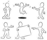 Povos dos desenhos animados preto e branco Fotografia de Stock Royalty Free