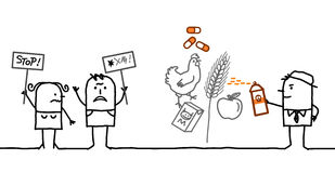 Povos dos desenhos animados que dizem NÃO aos produtos químicos na indústria alimentar Fotos de Stock Royalty Free