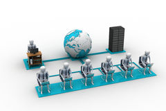 Povos dos trabalhos em rede com globo Imagem de Stock Royalty Free