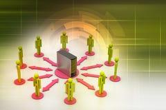 Povos dos trabalhos em rede com servidor Fotografia de Stock Royalty Free