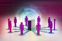 Povos dos trabalhos em rede com servidor Foto de Stock Royalty Free