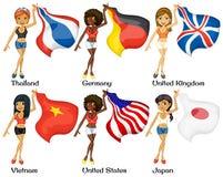 Povos e bandeiras ilustração stock