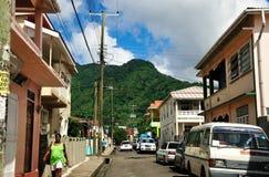 Povos e carros em Soufriere Foto de Stock Royalty Free