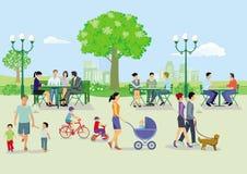 Povos e famílias no parque ilustração royalty free
