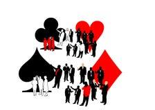 Povos e quatro símbolos do cartão Fotos de Stock Royalty Free