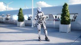 Povos e robôs Estação de Sci fi Transporte futurista do monotrilho Conceito do futuro Animação 4K realística filme