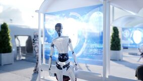 Povos e robôs Estação de Sci fi Transporte futurista do monotrilho Conceito do futuro Animação 4K realística vídeos de arquivo
