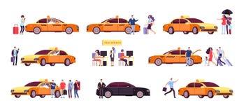 Povos e táxi Motoristas de táxi passageiro e carro no passeio Ícones isolados serviço do táxi ilustração royalty free