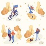 Povos em Autumn Park Having Fun e na caminhada ilustração do vetor