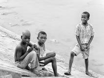 Povos em Benin, em preto e branco Fotografia de Stock