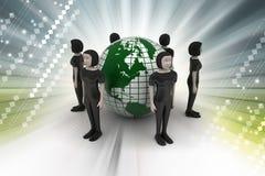 Povos em torno de um globo que representa trabalhos em rede sociais Imagem de Stock Royalty Free