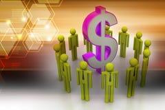 Povos em torno do sinal de dólar Imagem de Stock