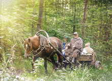 Povos em um carro com um cavalo Imagens de Stock Royalty Free