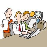 Povos em um local de trabalho aglomerado ilustração royalty free