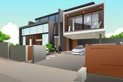 Povos em uma casa moderna do estilo ilustração royalty free