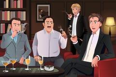 Povos em uma sala de estar do charuto Imagem de Stock Royalty Free
