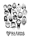 Povos engraçados com barbas Fotos de Stock Royalty Free
